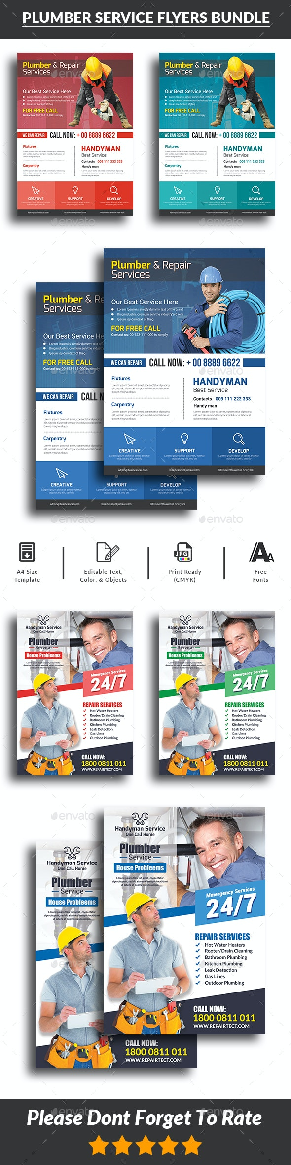 Plumber Service Flyers Bundle Templates - Corporate Flyers