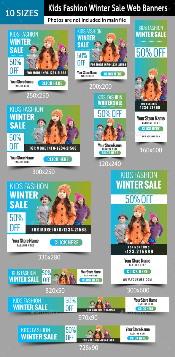 Kids Fashion Winter Sales Banners - Banners & Ads Web Elements