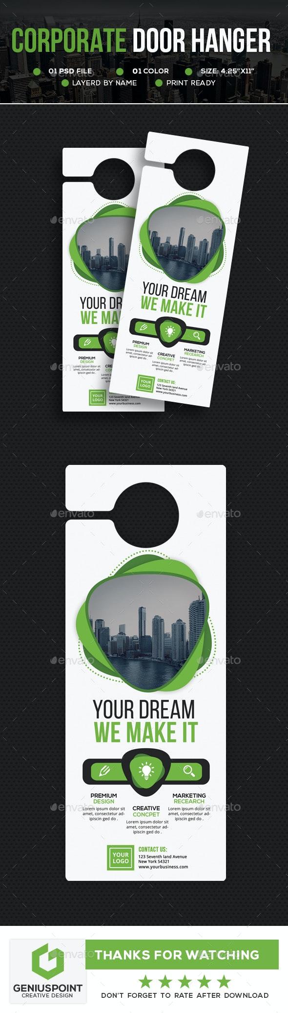 Corporate Door Hanger V2 - Miscellaneous Print Templates