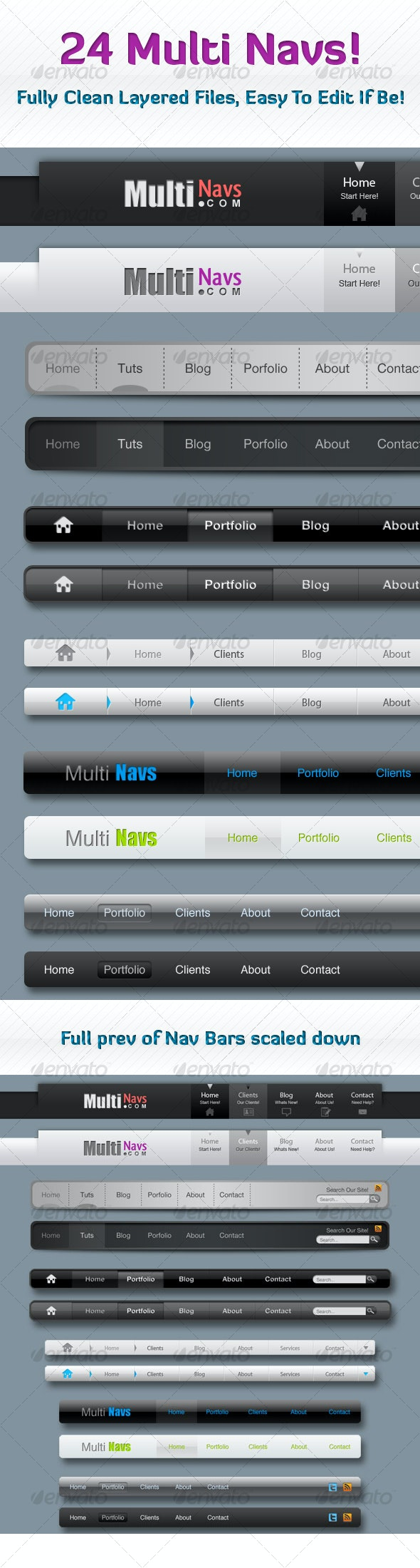 Clean Multi Nav Bars (12 In All) - Web Elements