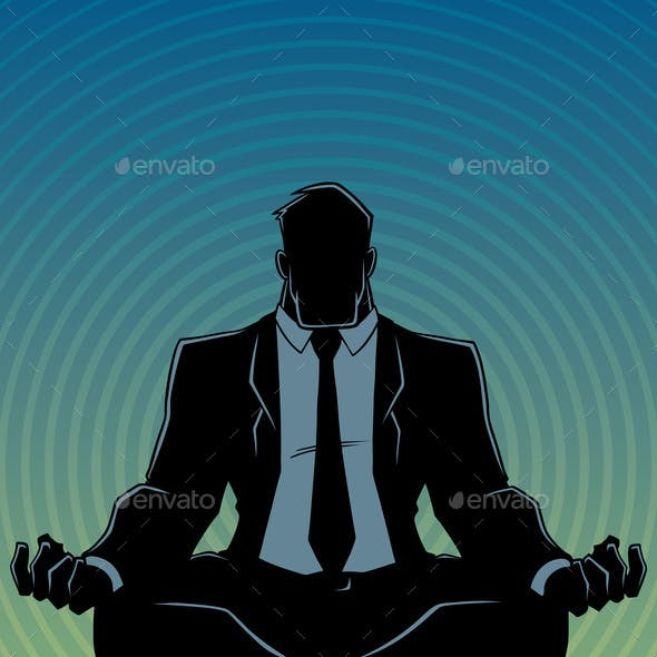 Businessman Meditating Background Silhouette