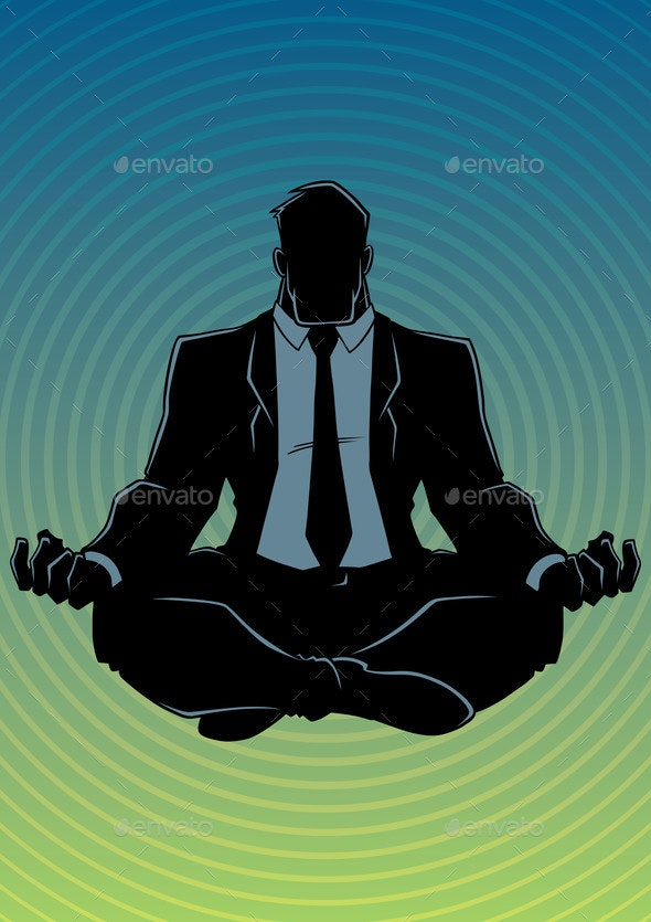 Businessman Meditating Background Silhouette - People Characters