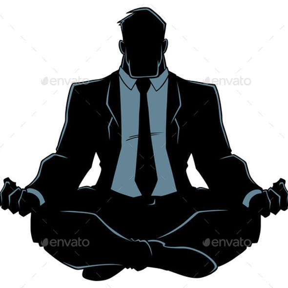 Businessman Meditating Silhouette