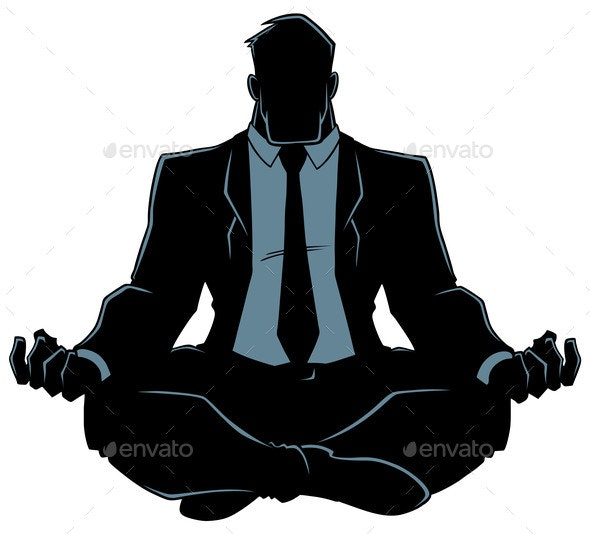 Businessman Meditating Silhouette - People Characters
