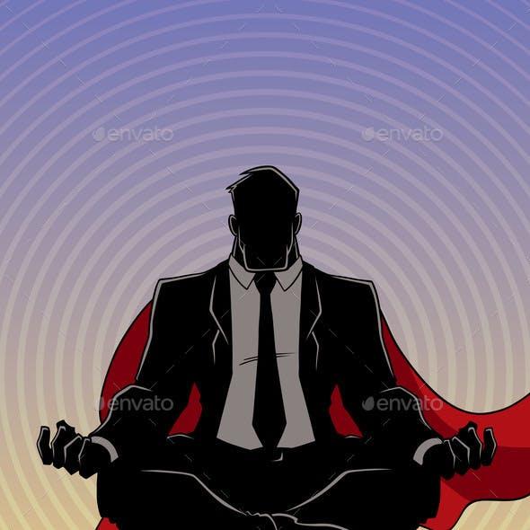 Super Businessman Meditating Background Silhouette