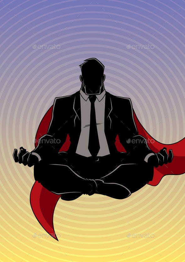 Super Businessman Meditating Background Silhouette - People Characters