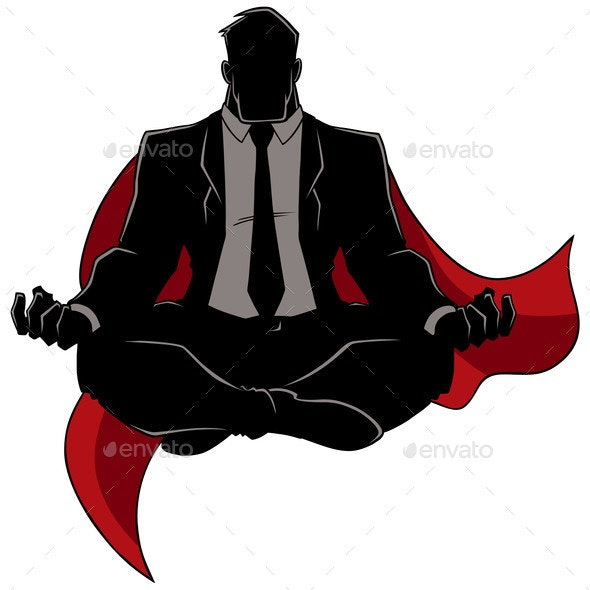 Super Businessman Meditating Silhouette - People Characters