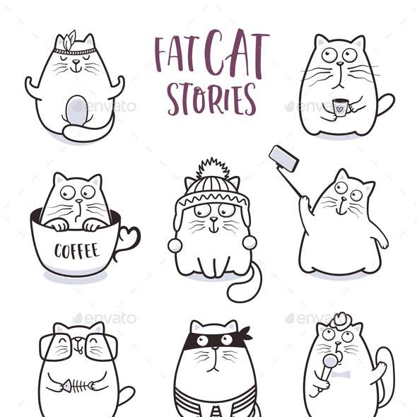 Fat Cats Vector Set
