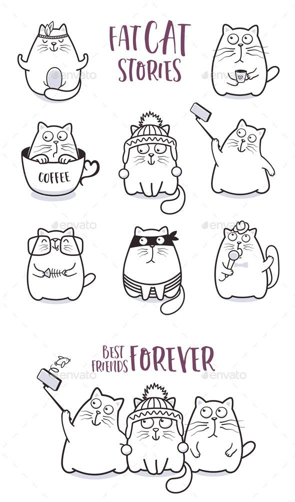 Fat Cats Vector Set - Animals Characters