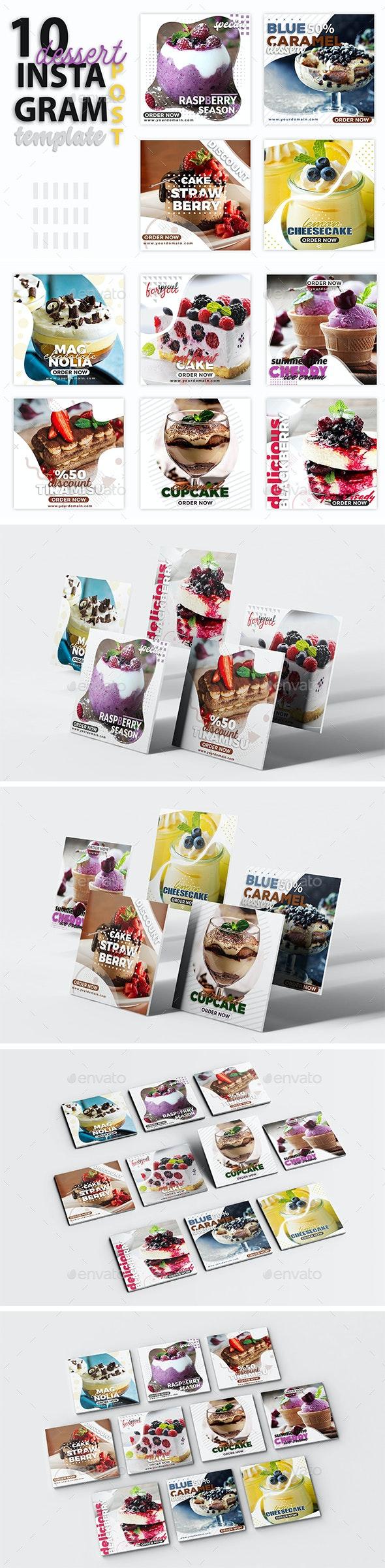 Instagram Post Templates - Dessert - Social Media Web Elements