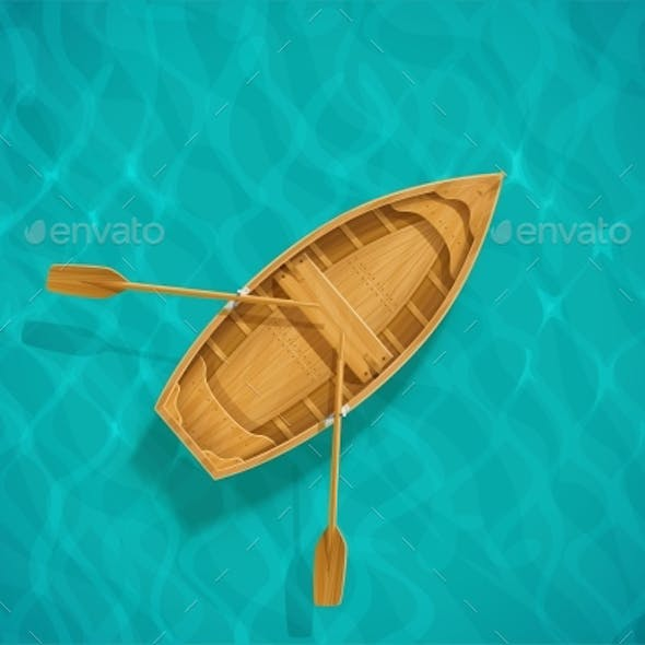Sea Water and Wooden Boat