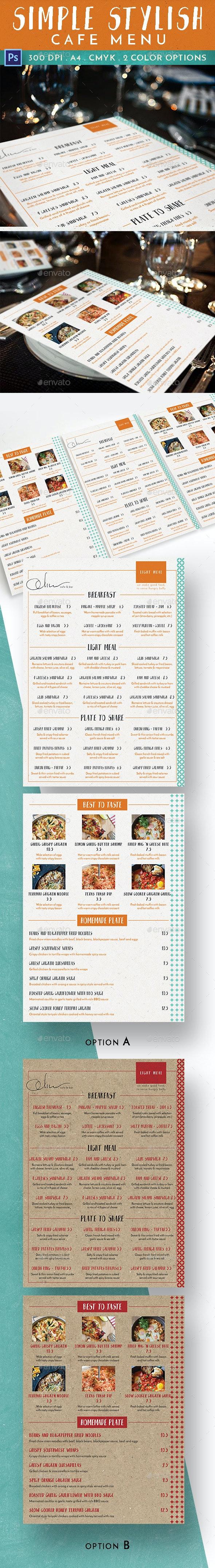 Simple Stylish Cafe Menu - Food Menus Print Templates