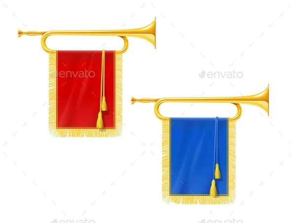 Golden Royal Horn Trumpet with Blue and Red Banner - Man-made Objects Objects