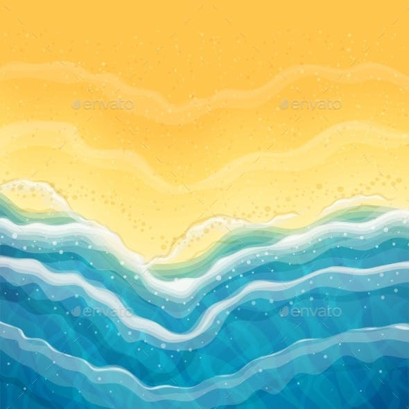Sea Wave and Sandy Beach Top View