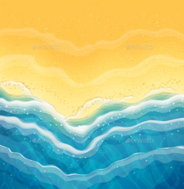 Sea Wave and Sandy Beach Top View - Landscapes Nature