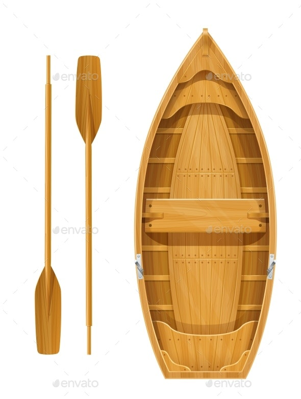 Wooden Boat with Paddles for Fishing - Man-made Objects Objects