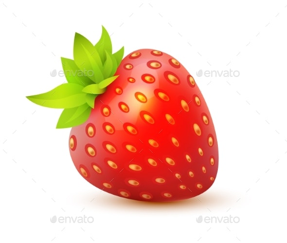 Vector Icon of Strawberry - Food Objects