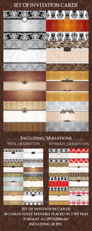 Set Of Invitation Cards - Borders Decorative