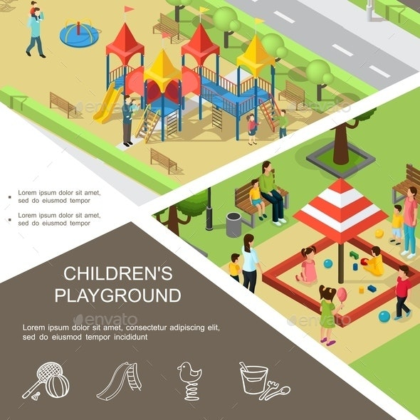 Isometric Children Playground Poster - People Characters