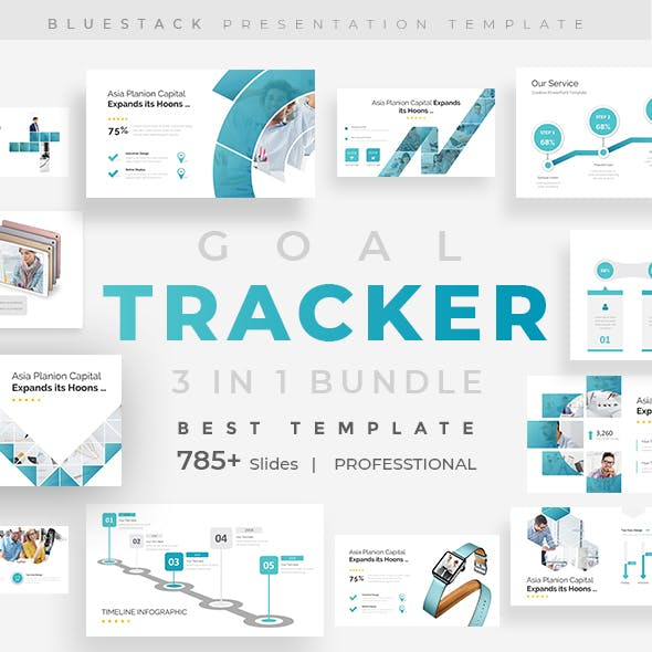 Goals Tracker 3 in 1 Bundle Pitch Deck Keynote Template Template