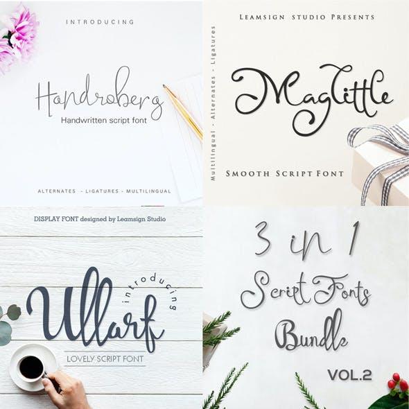 3 in 1 Script fonts bundle vol 2
