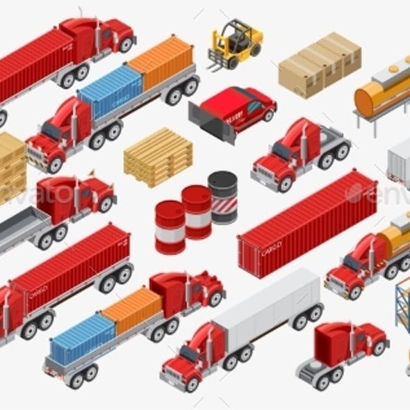 Set of Freight Trucks and Goods