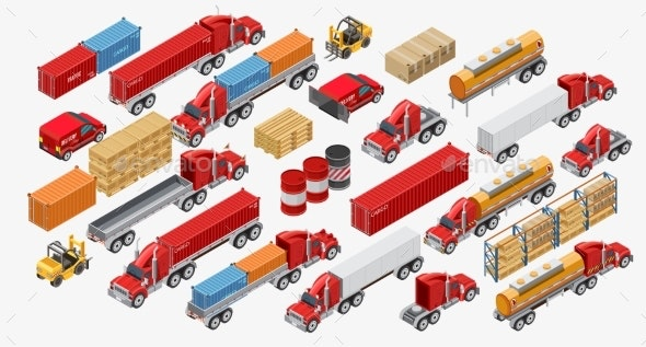 Set of Freight Trucks and Goods - Miscellaneous Vectors