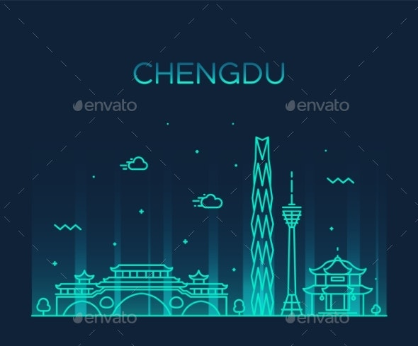 Chengdu Skyline Sichuan China Vector Linear Style - Buildings Objects