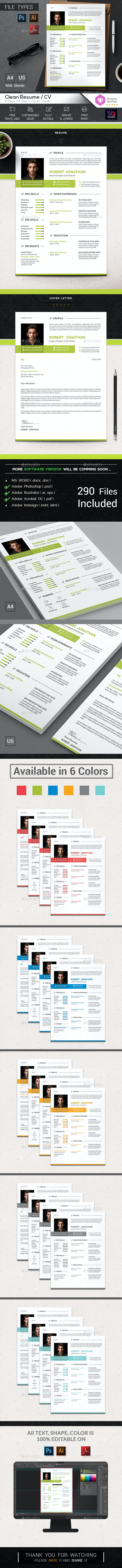 Clean Resume / CV - Resumes Stationery