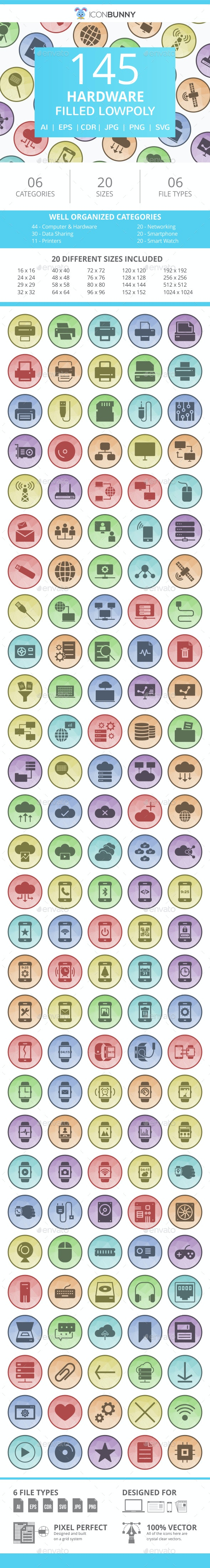 145 Hardware Filled Low Poly Icons - Icons