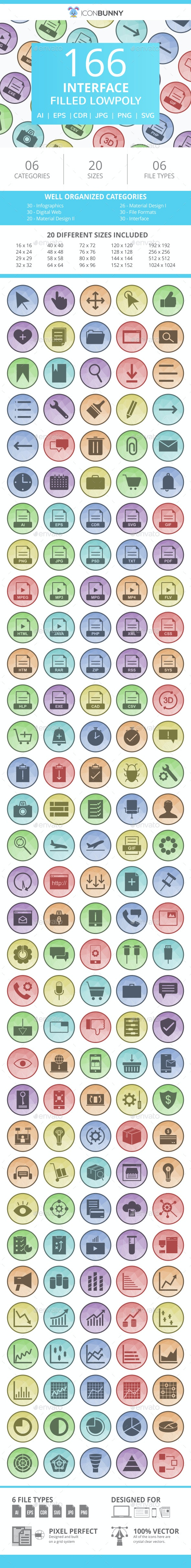 166 Interface Filled Low Poly Icons - Icons