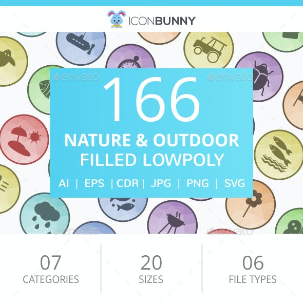 166 Nature & Outdoor Filled Low Poly Icons