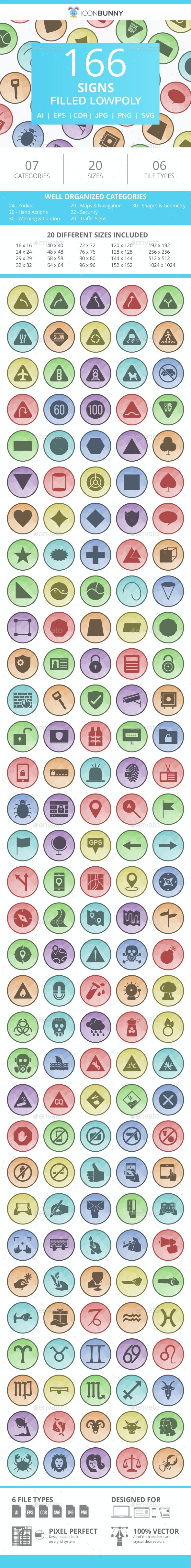 166 Sign Filled Low Poly Icons - Icons