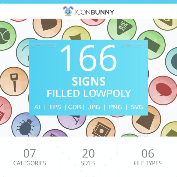 166 Sign Filled Low Poly Icons