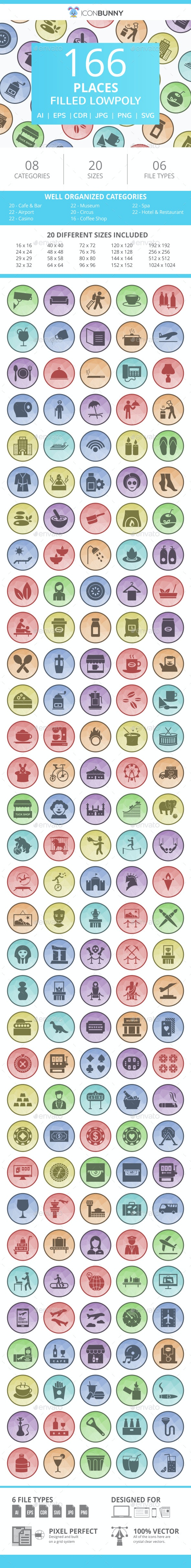 166 Places Filled Low Poly Icons - Icons