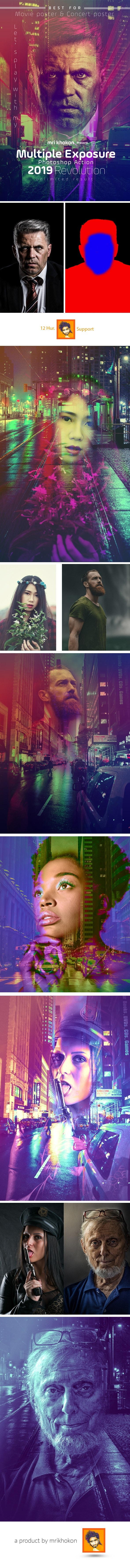 Multiple Exposure Photoshop Action - Photo Effects Actions