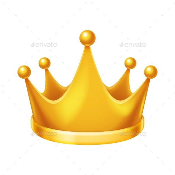 Golden Royal Crown Isolated Icon