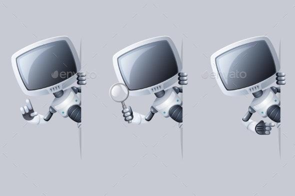Monitor Head Robot Looking Around Corner - Computers Technology