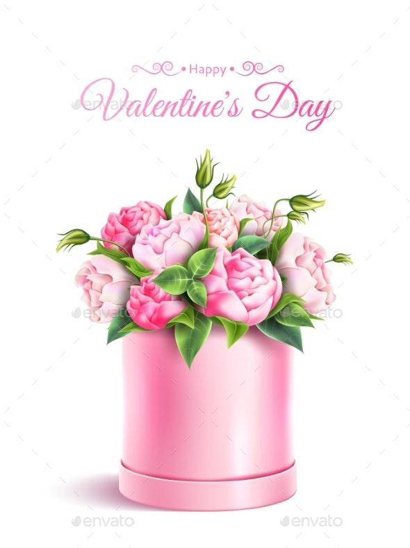 Vector Rose Flower Box Valentines Day - Valentines Seasons/Holidays