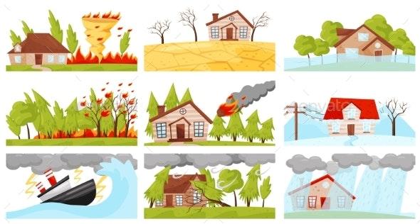 Flat Vector Set of Natural Disasters Illustrations - Landscapes Nature