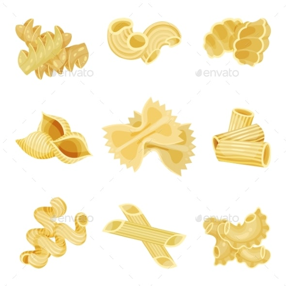 Detailed Flat Vector Set of Traditional Italian - Food Objects
