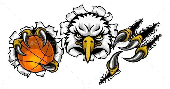 Eagle Basketball Cartoon Mascot Tearing Background - Sports/Activity Conceptual