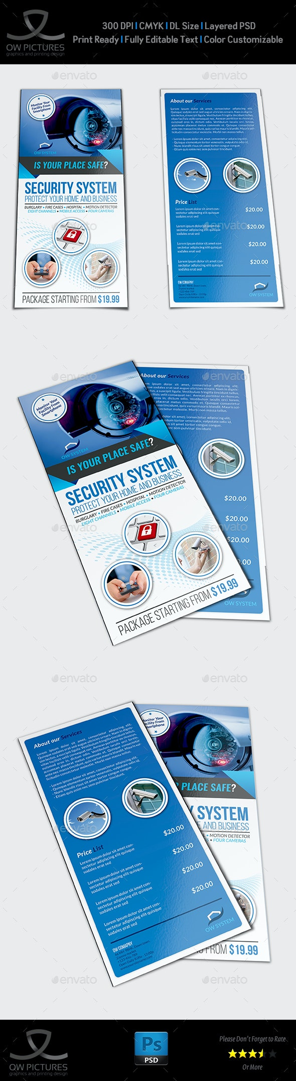 Security System Flyer DL Size Template - Commerce Flyers