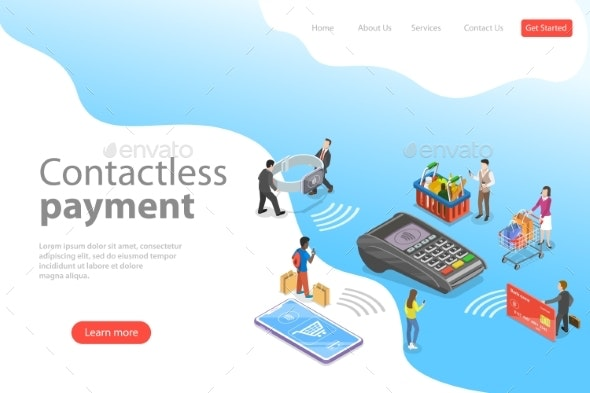 Flat Isometric Vector Landing Page Template - Concepts Business