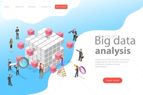 Flat Isometric Vector Concept of Data Analysis - Concepts Business