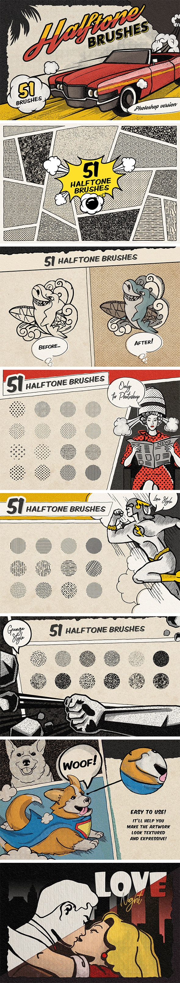 Vintage Comic Book Halftone Brushes - Brushes Photoshop