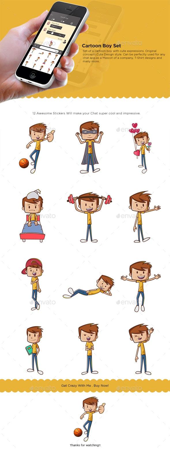 Boy Cartoon Sticker Set - People Characters