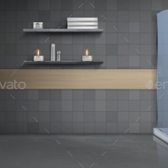 Bathroom Interior Realistic Vector Background