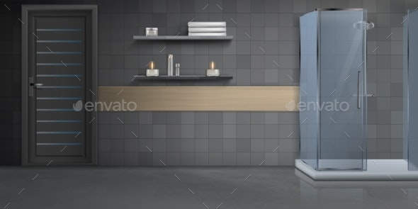 Bathroom Interior Realistic Vector Background - Buildings Objects