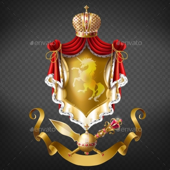 Medieval Ruler Coat of Arms Realistic Vector - Decorative Symbols Decorative